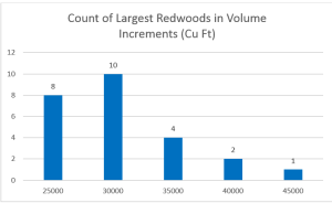 Distribution of volumes among largest redwoods