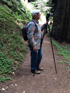 Jerry Beranek setting up for a photo along the trail