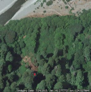Redwood Creek east hillside above north seasonal foot bridge, area where trees stood marked with X (Image from Google Earth)